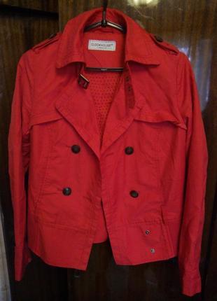 Женский красный короткий плащ ветровка куртка демисезон плащ п...