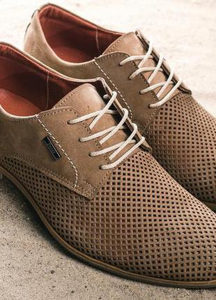 Мужские туфли кожаные летние бежевые yuves m5
