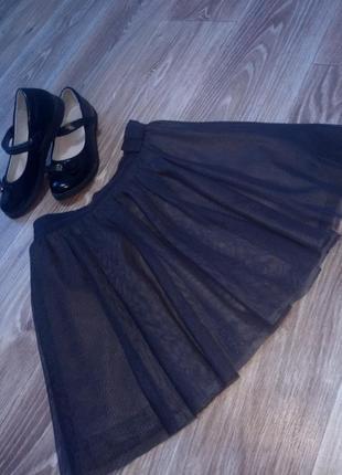 Темно серая, фатиновая юбка, пачка, пышная юбочка
