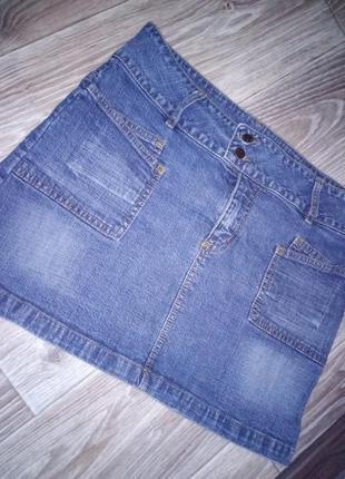 Короткая джинсовая юбка,  мини юбка