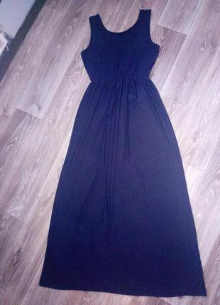 Темно синее платье в пол