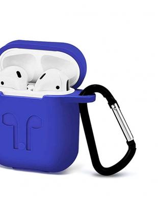 Чехол для наушников AirPods (синий) Silicone Case