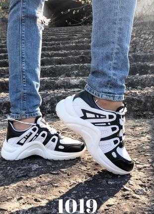 Кроссовки на платформе чёрно-белые lv, 35-39, экокожа и сетка ...