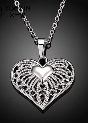 🏵красивая ажурная подвеска на цепи - кулон сердце в серебре 92...