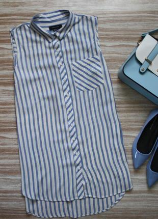 Актуальная рубашка безрукавка в полоску №1