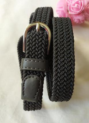 Эластичный пояс плетеный ремень резинка серый