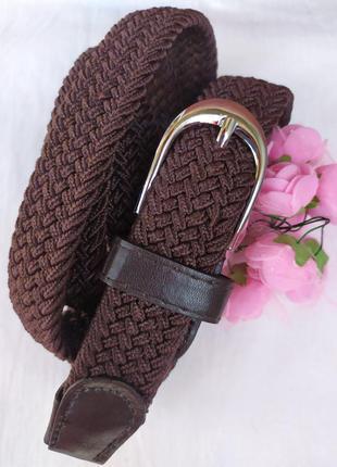 Эластичный пояс плетеный ремень резинка коричневый