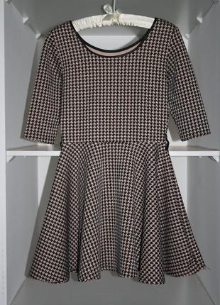 Неопреновое бежевое платье гусиная лапка в стиле бебидолл №25