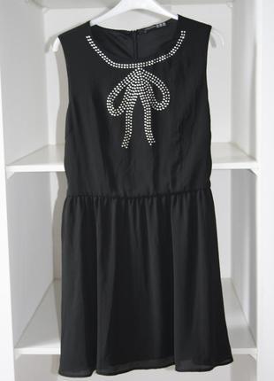 Милое шифоновое платье с декором бантик №217