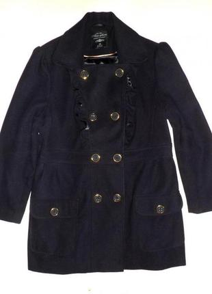Демисезонное пальто темно-синего цвета