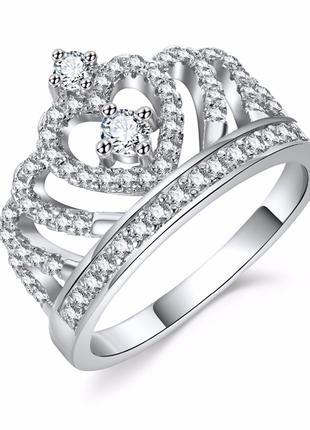 Кольца с кристаллами в виде сердца серебряного цвета, женские