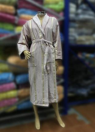 Натуральный женский халат grek светло-розовый