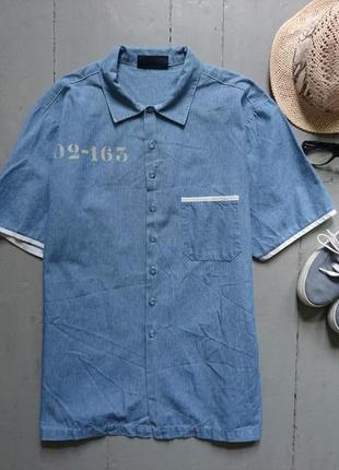 Джинсовая рубашка с коротким рукавом №118