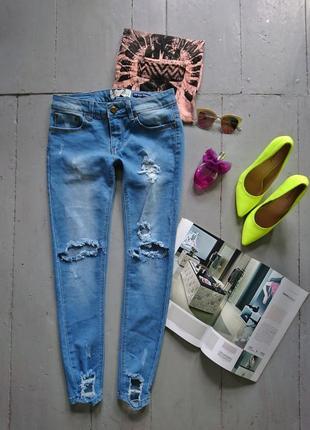 Актуальные джинсы скинни рваные №37