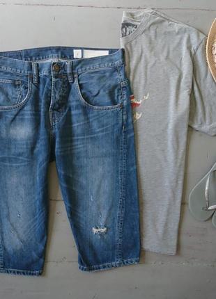 Темно-синие джинсовые шорты с потертостями №196