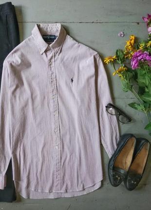 Стильная рубашка в мелкую серо-розовую полоску #18