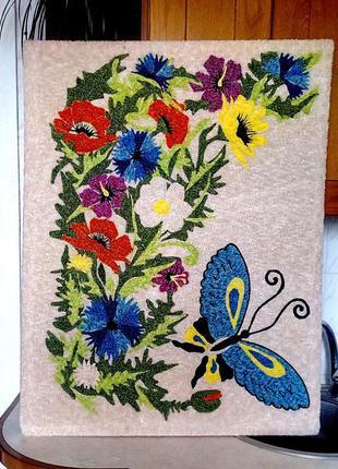 Красивая картина с ткани(нашивка) 94х73см ручная работа