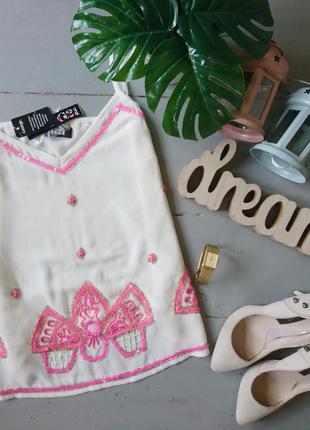 Актуальная шифоновая блуза с пайетками №156