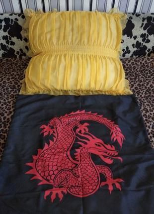 Большая подушка на синтепоне 63смх63см с наволочкой дракон