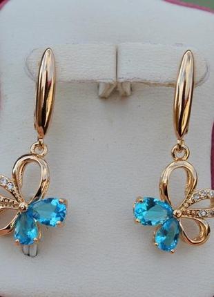 Серьги, голубые камни, медзолото, серьги с голубыми цветочками