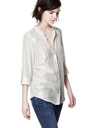 Красивая,серебристая,жемчужная блузка рубашка zara