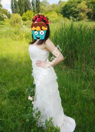 Шикарное свадебное платье из органзы, со шлейфом