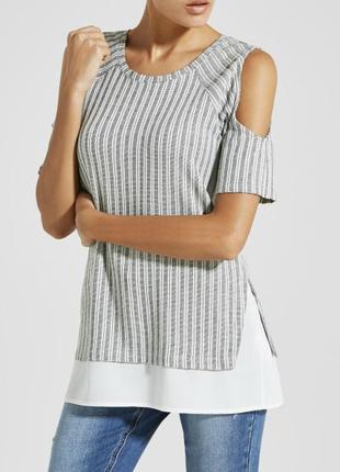 Актуальная блуза в рубчик с вырезами на плечах cold shoulder№2