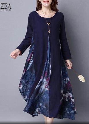 Платье миди  балахон комбинированное zanzea размер 16