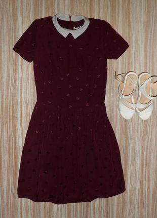 Милое бордовое платье рубашка в сердечках №145  river island