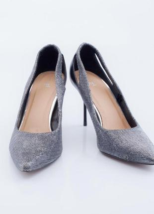 Туфли лодочки серебристого цвета