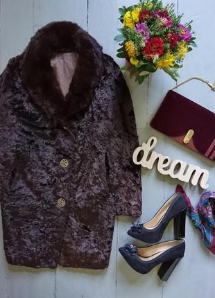 Актуальное винтажное трендовое меховое пальто с воротником ове...