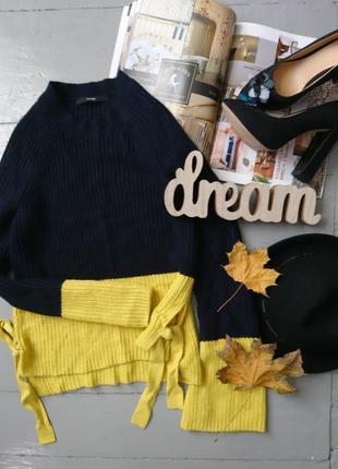Актуальный свитер джемпер завязками на рукавах colorblock №67