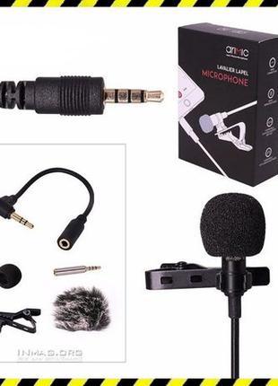 Петличный микрофон (петличка) Arimic + 4 ветрозащиты + кабель ...