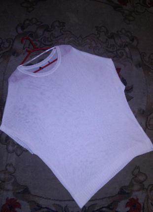 Белоснежная,тонкой трикотажной вязки блузка-туника,большого ра...