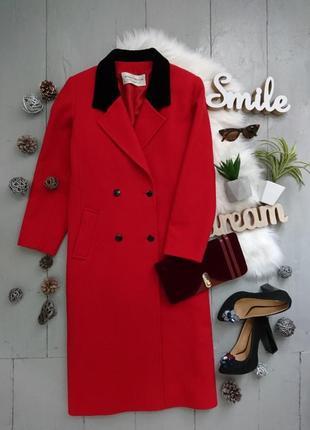 Актуальное винтажное двубортное шерстяное прямое миди пальто