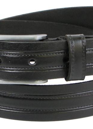 Мужской кожаный ремень под брюки Skipper 1251-33 черный 3,3 см