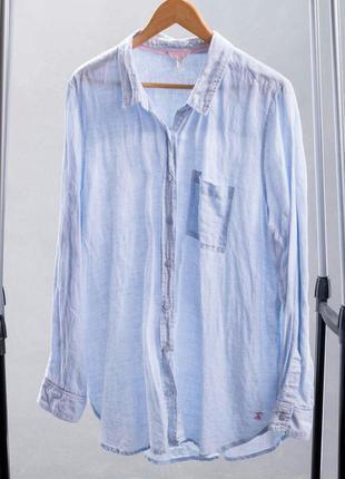 Льняная женская рубашка голубого цвета