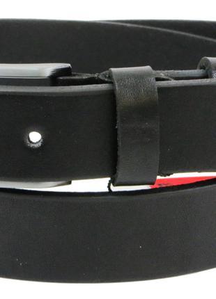 Мужской кожаный ремень под брюки Skipper 1266-33 черный 3,3 см