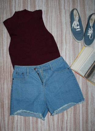 Актуальные джинсовые шорты с высокой посадкой №225
