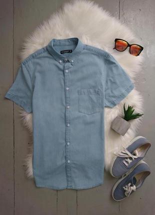 Актуальная летняя джинсовая рубашка с коротким рукавом №20