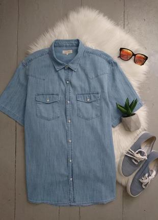 Актуальная летняя джинсовая рубашка с коротким рукавом №21