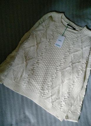 Шикарный свитер с ангорой(шерсть) крупными косами.