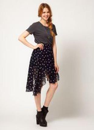 Актуальная асимметричная юбка в горошек №129