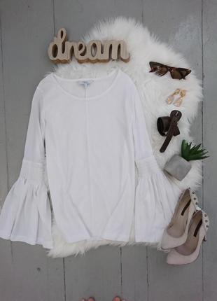 Нереальная белая блузка с расклешенными рукавами №33