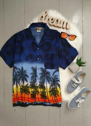 Стильная рубашка в тропический принт №38