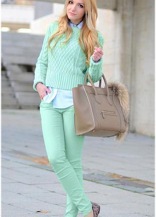Джинсы светло-зеленые, салатові штани🌿