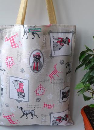 Эко сумка для покупок с собаками, сумка пакет, эко торба, сумк...
