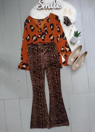 Трендовые велюровые расклешенные брюки леопардовый принт №1max.