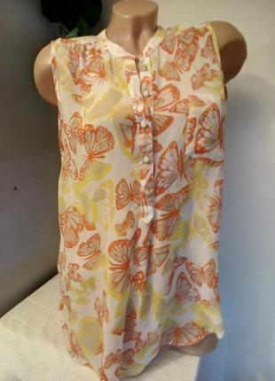 Легкая невесомая прозрачная блузка туника из шифона