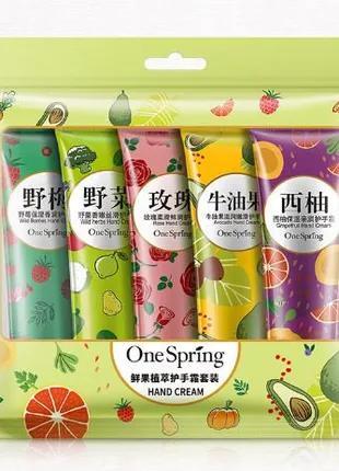 Крем для рук фруктовый набор One Spring  5 *30г